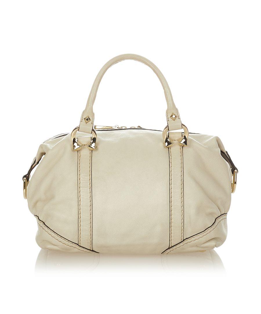Image for Vintage Gucci Horsebit Nail Leather Boston Bag White
