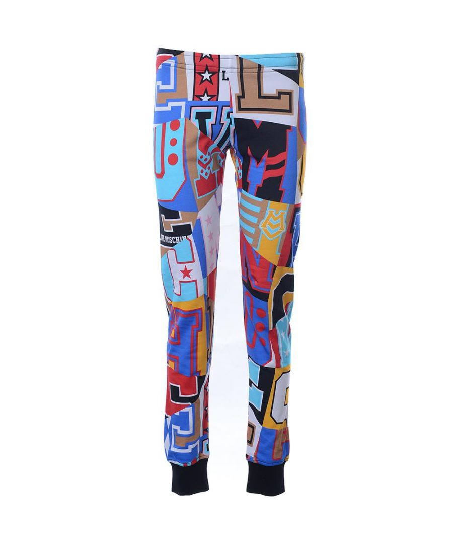 Image for Love Moschino FLEECE TROUSERS ALLOVER LETTERING-LETTERING in Multicoloured