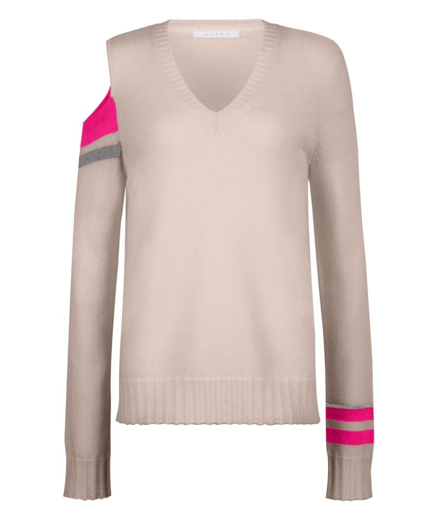 Image for Beige Wool And Cashmere Fitted Jumper With Pop Detail