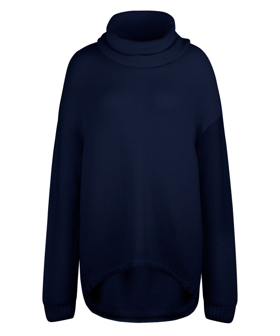 Image for Navy Mixed Blend Oversized Slouchy Jumper