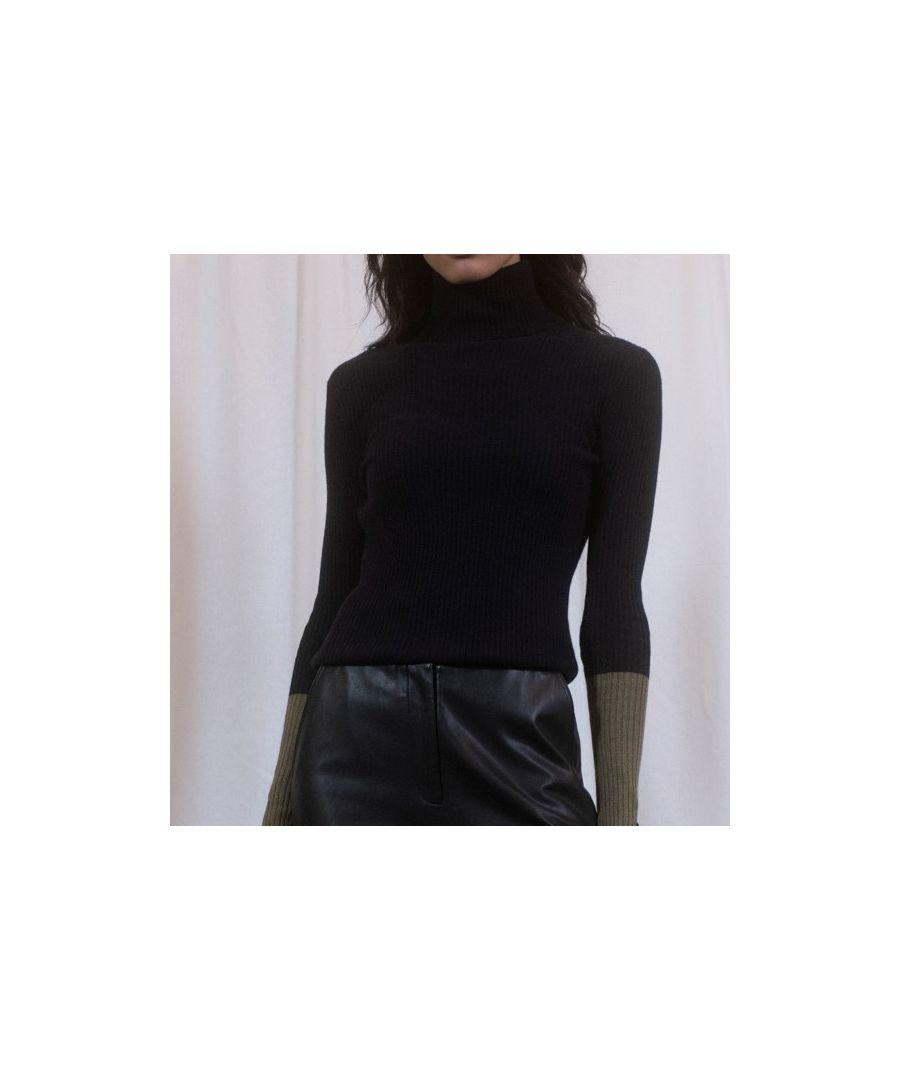 Image for Dark Navy Cashmere Roll Neck Pop Sleeve Jumper
