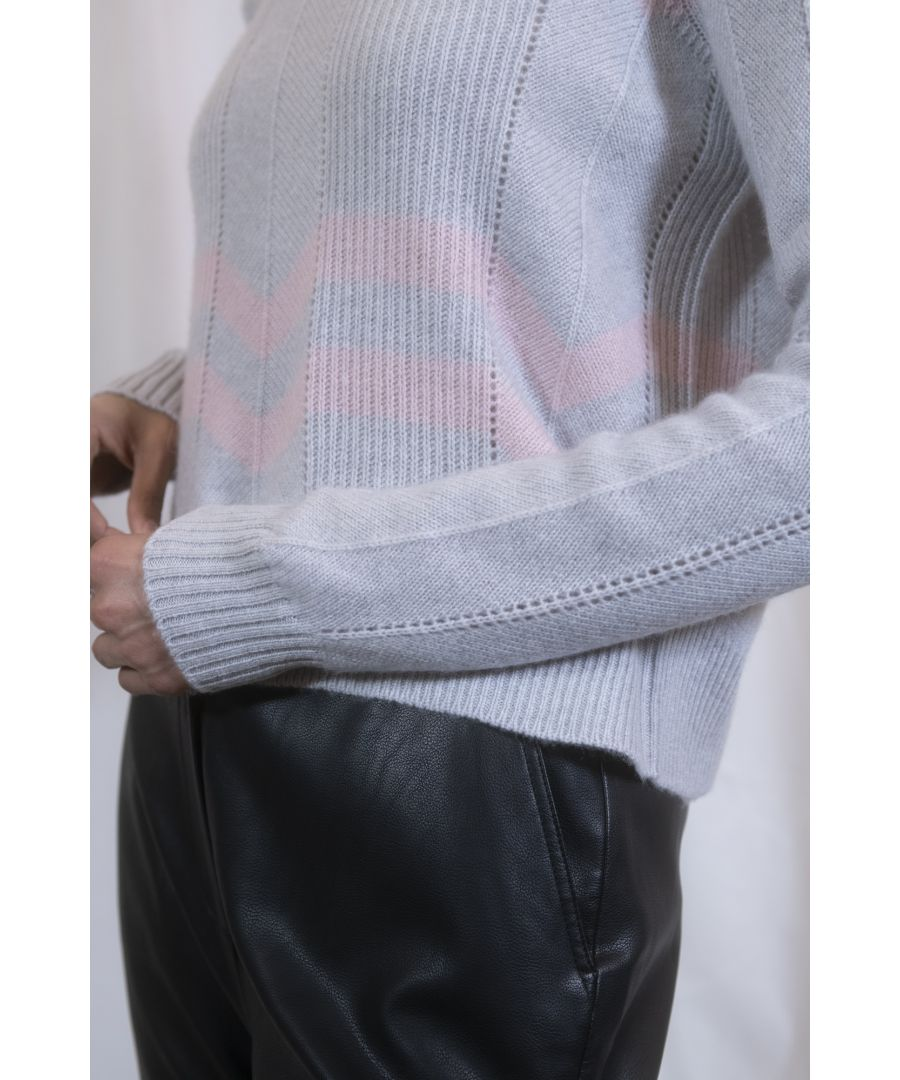 Image for Grey Cashmere Cropped Zigzag Lightweight Jumper