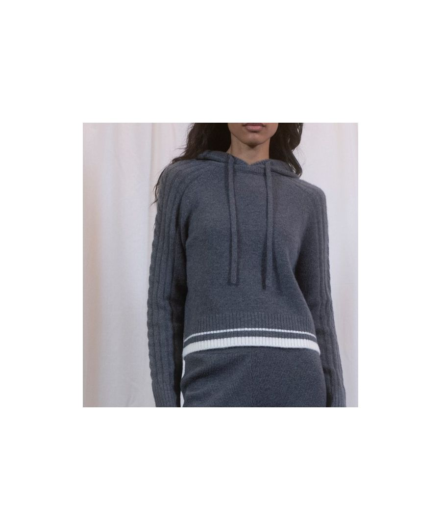 Image for Grey Rib And Cable Hoodie With Ivory Trim