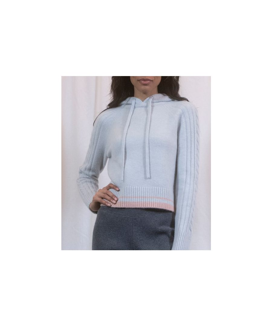 Image for Blue Rib And Cable Hoodie With Pink Trim