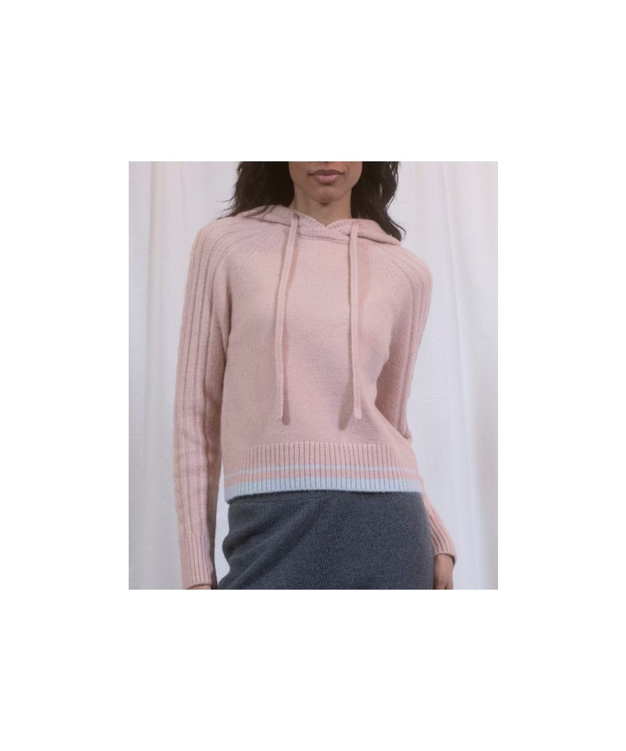 Image for Pink Rib And Cable Hoodie With Blue Trim