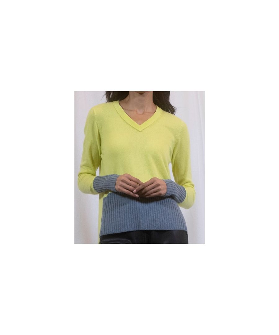 Image for Yellow V Necked Casmere Detailed Jumper With Zip Back