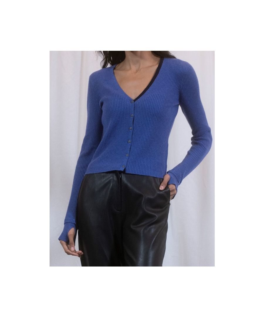 Image for Blue Cashmere Little Cardigan With Neck Detail