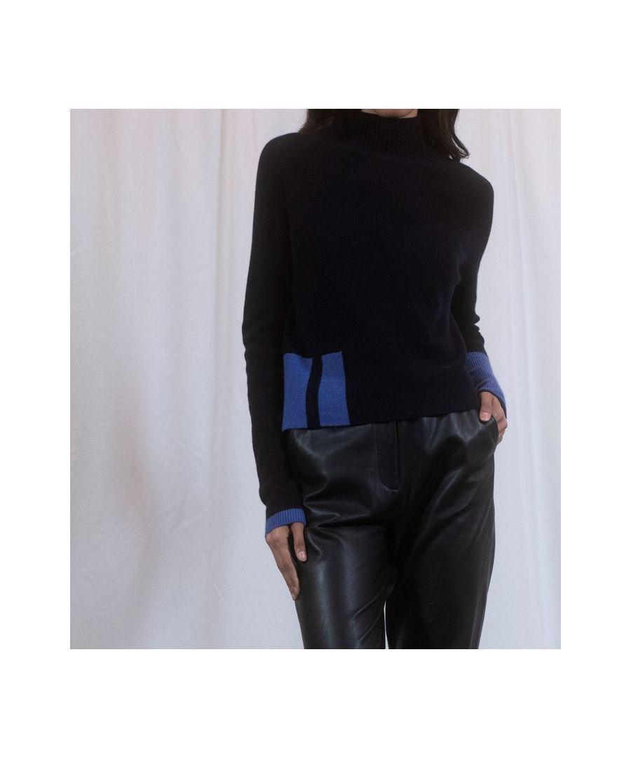 Image for Black Cashmere Boxy Pop Detail Jumper
