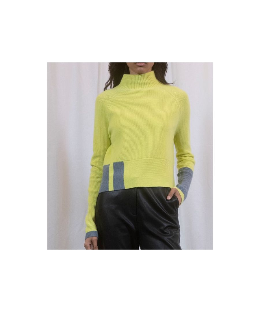 Image for Yellow Cashmere Boxy Cropped Funnel Neck Jumper With Pop Detail