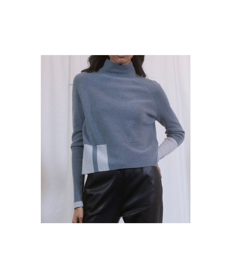 Image for Grey Cashmere Boxy Cropped Funnel Neck Jumper With Pop Detail