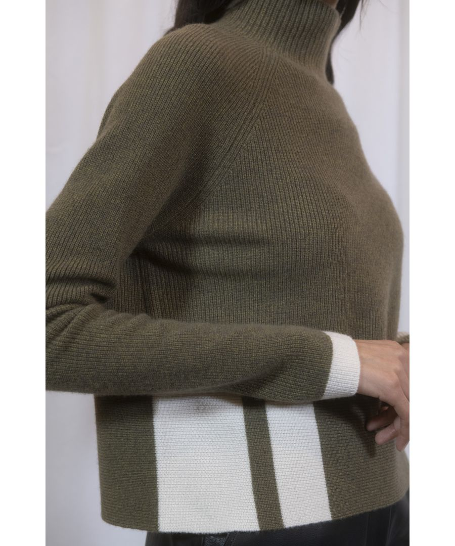 Image for Green Cashmere Boxy Cropped Funnel Neck Jumper With Pop Detail