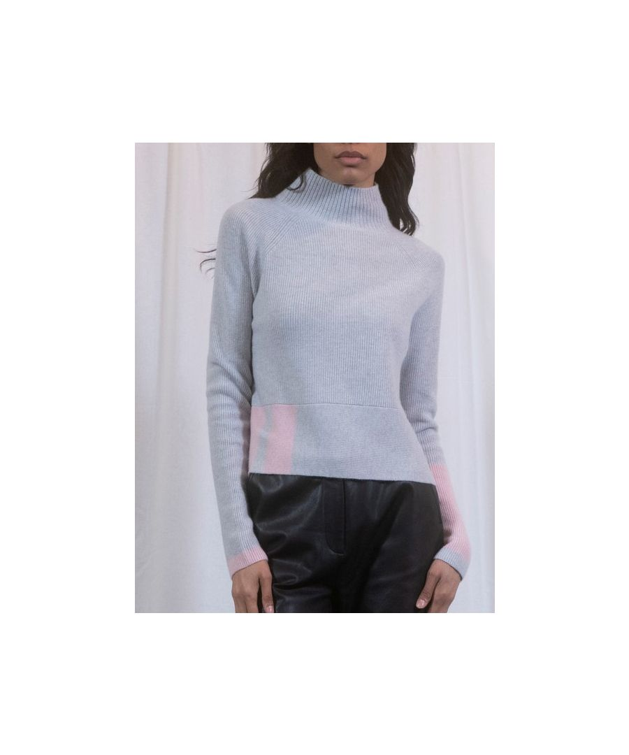 Image for Blue Cashmere Boxy Cropped Funnel Neck Jumper With Pop Detail