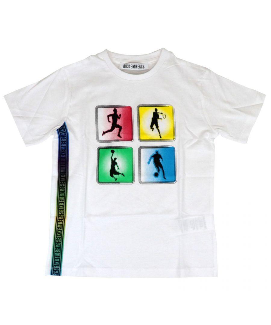 Image for BIKKEMBERGS BOYS TE5212510101 WHITE COTTON T-SHIRT