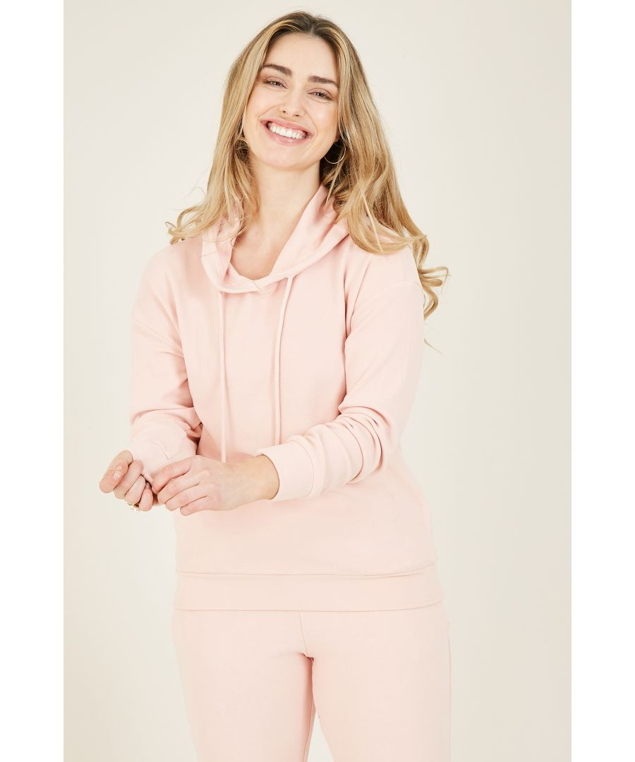 Image for Yumi Blush Pink Velour Lux Hoodie With Pocket