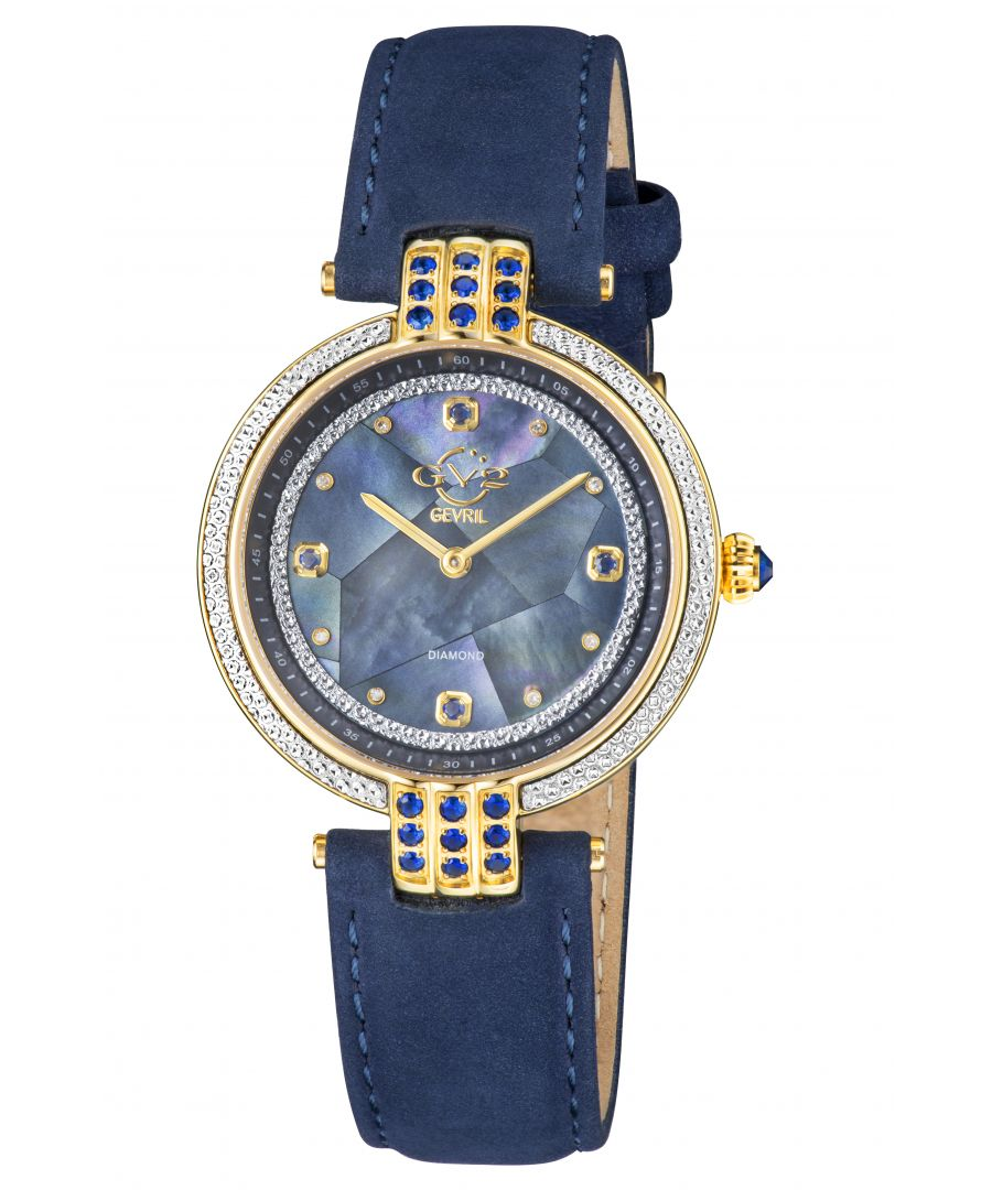 Image for GV2 Matera Women's Swiss Quartz Blue Mother of Pearl Dial Blue Suede Strap Diamond Watch
