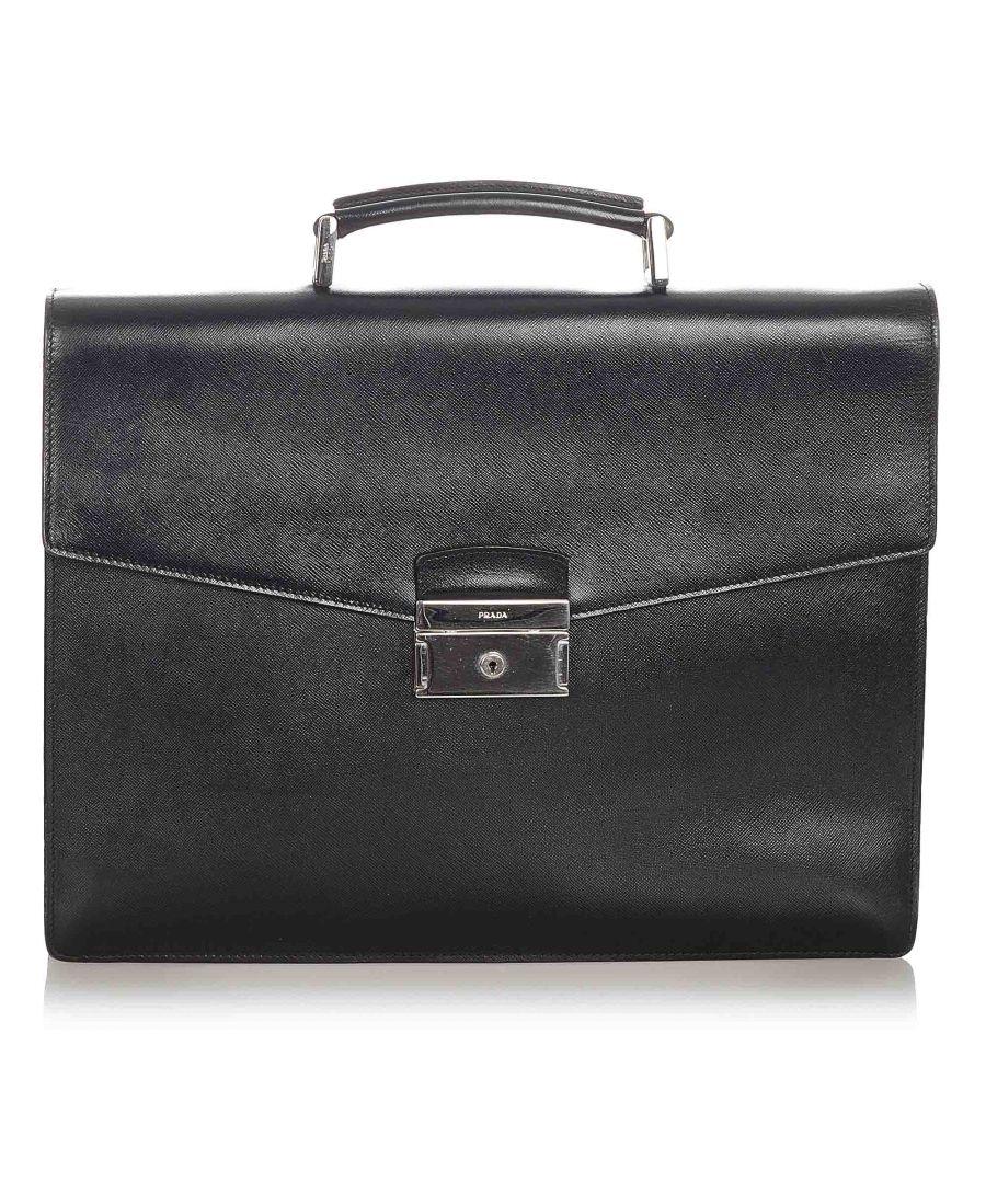 Image for Vintage Prada Saffiano Business Bag Black