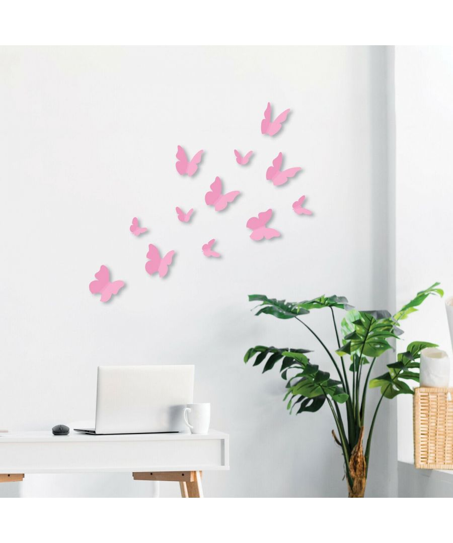 Image for Walplus 3D Butterfly-Pink Wall Stickers, Self Adhesive, DIY, Decoration, Kids Room, Nursery, Children's room, Boy, Girl