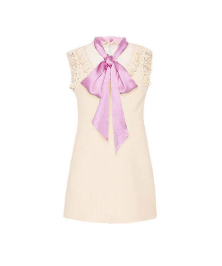 Image for Gucci Wool & Silk Blend Mini Dress with Pussycat Bow