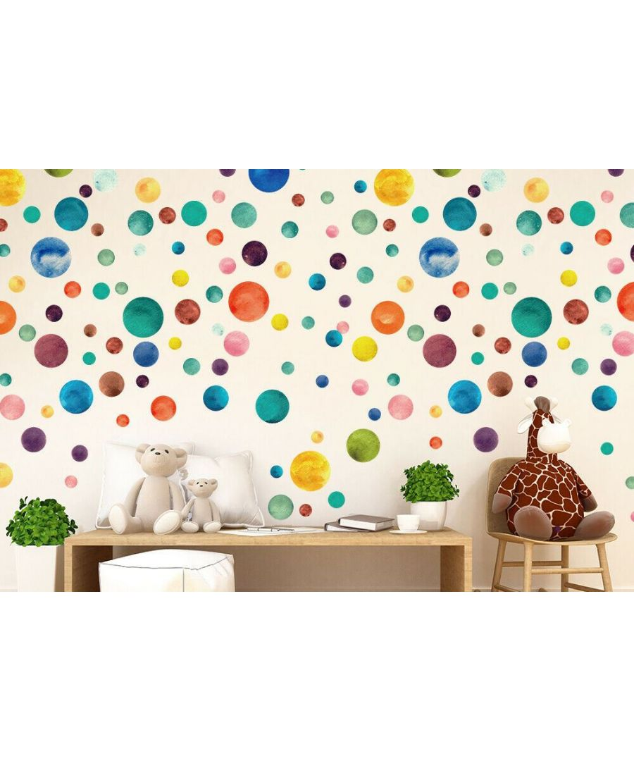 Image for Wall Art - Colourful Watercolour Polka Dots