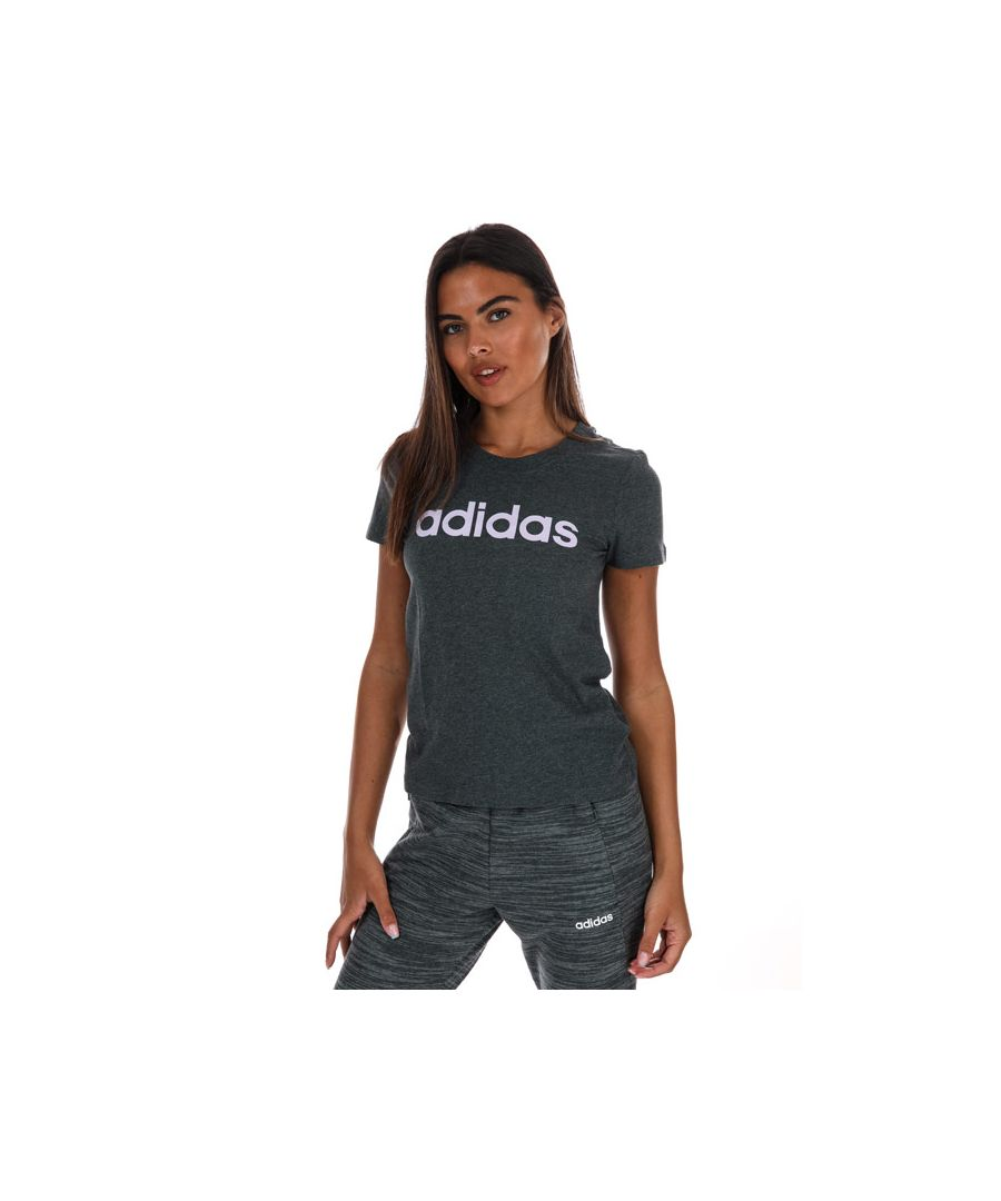 Image for Women's adidas Essentials Linear Slim T-Shirt In Charcoal Marl