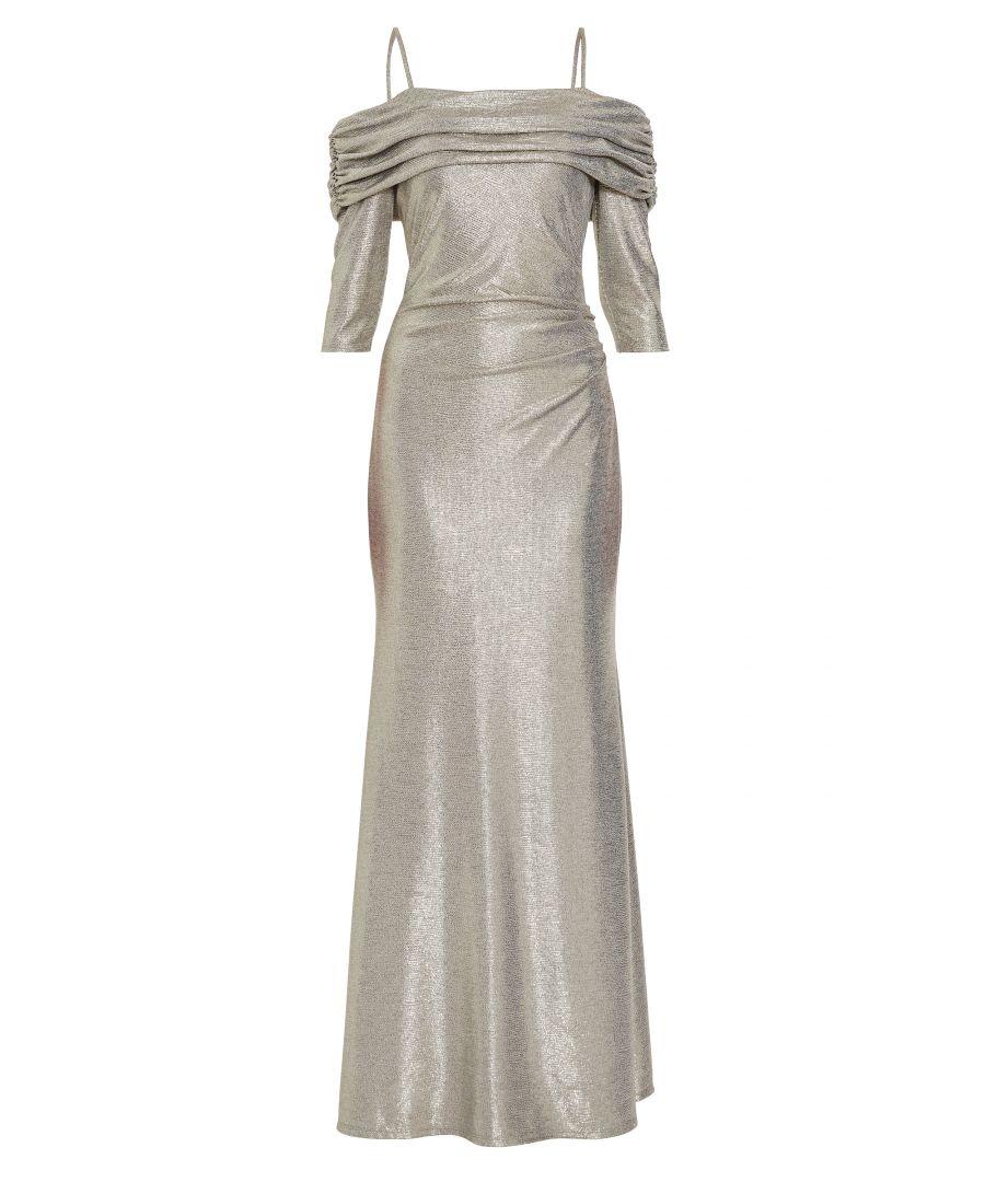 Image for Gina Bacconi Hosanna Metallic Maxi Dress in Gold