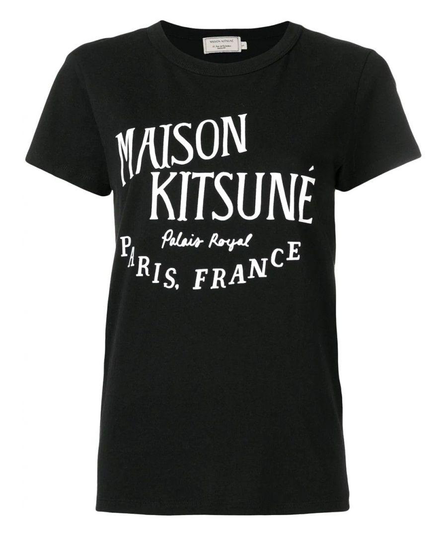 Image for MAISON KITSUNÉ WOMEN'S AW00100KJ0005BK BLACK COTTON T-SHIRT