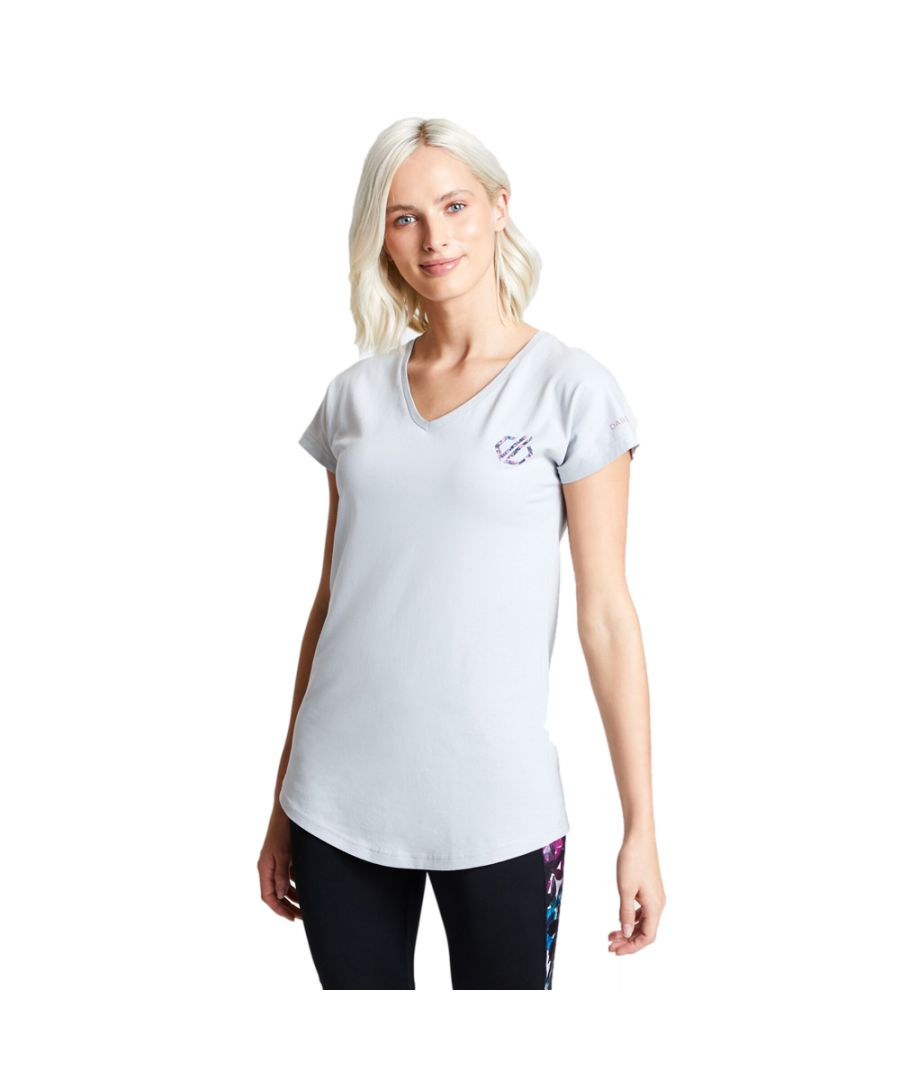 Image for Dare 2b Womens Pastime Cotton V Neck Logo T Shirt Tee