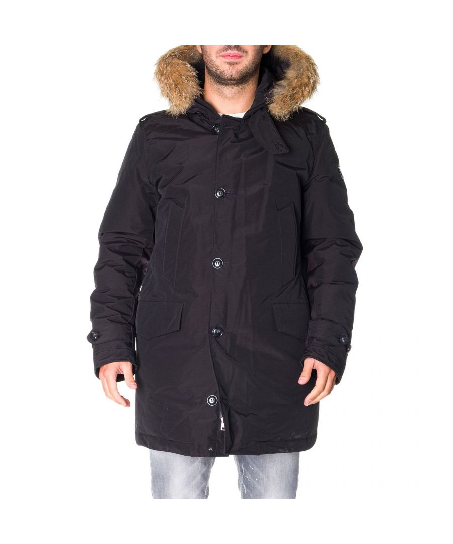 Image for WOOLRICH MEN'S WOCPS2893UT0001BLK BLACK COTTON COAT