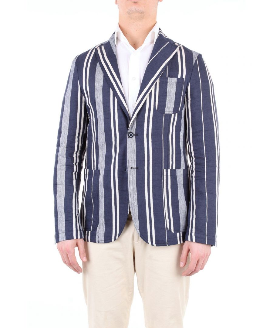 Image for ALESSANDRO DELL'ACQUA MEN'S AD2167G0109RBLUEPANNA BLUE LINEN BLAZER