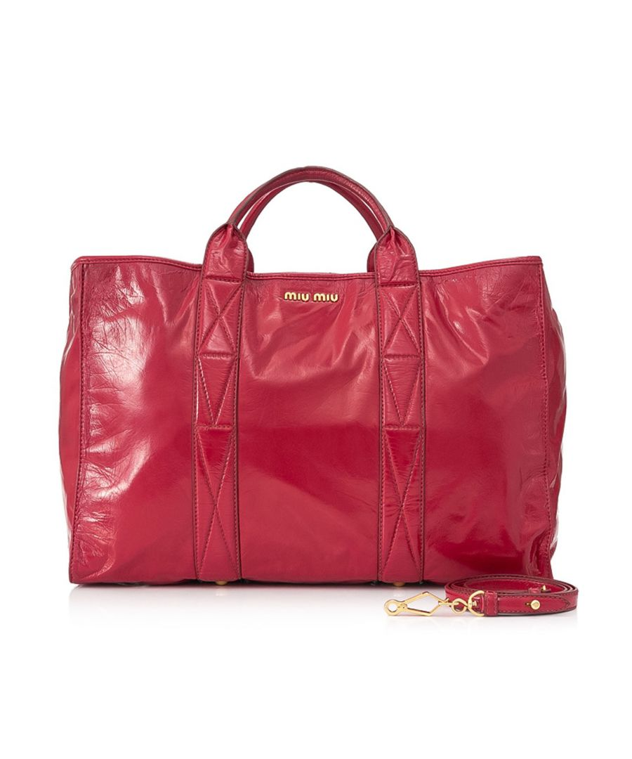 Image for Vintage Miu Miu Patent Leather Satchel Red