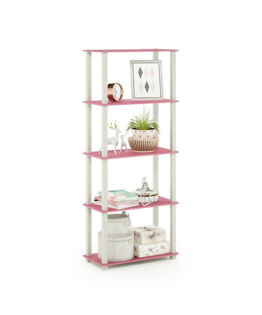 Image for Furinno Turn-S-Tube 5-Tier Multipurpose Shelf Display Rack with Square Tubes, Pink/White