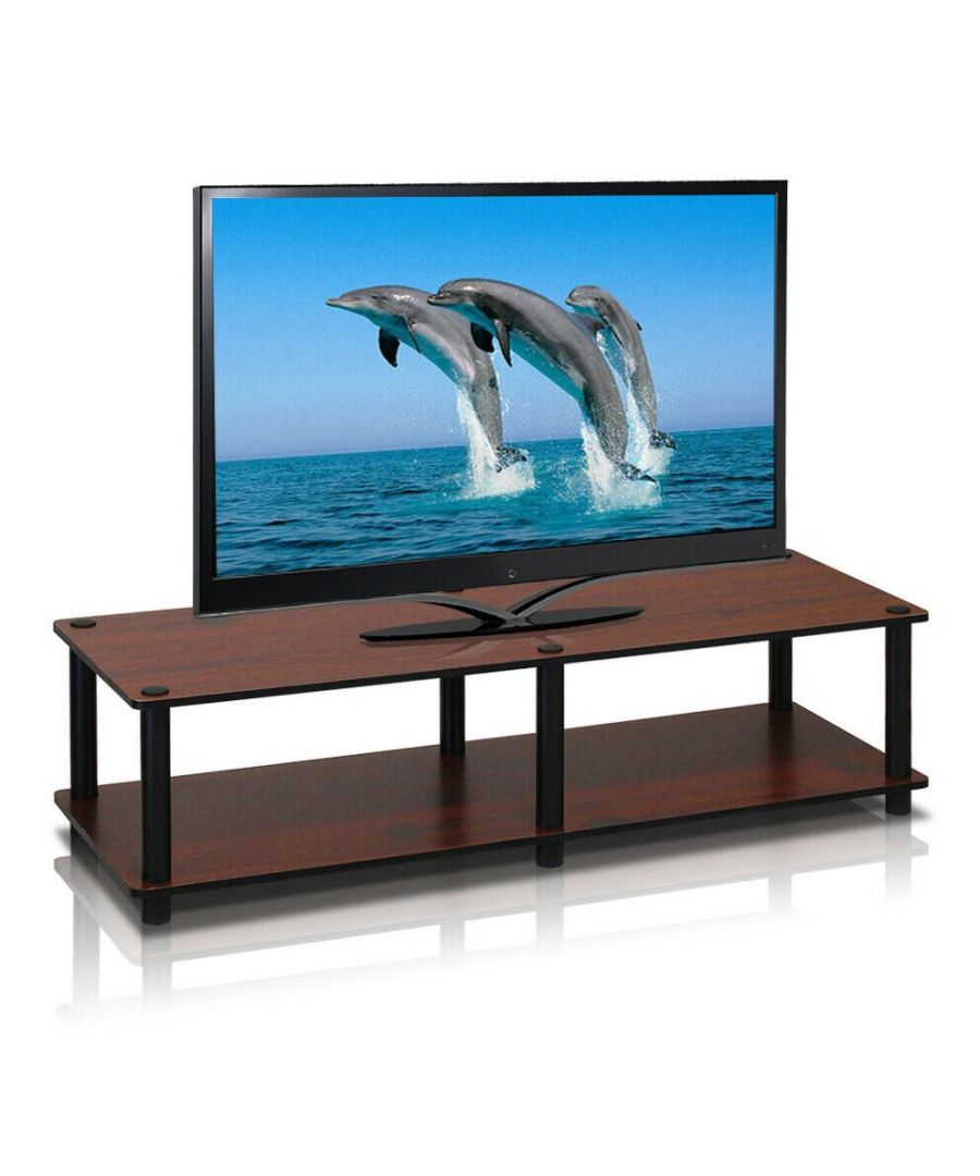 Image for Furinno 11175DC(BK)/BK Just No Tools Wide TV Stand, Dark Cherry w/Black Tube