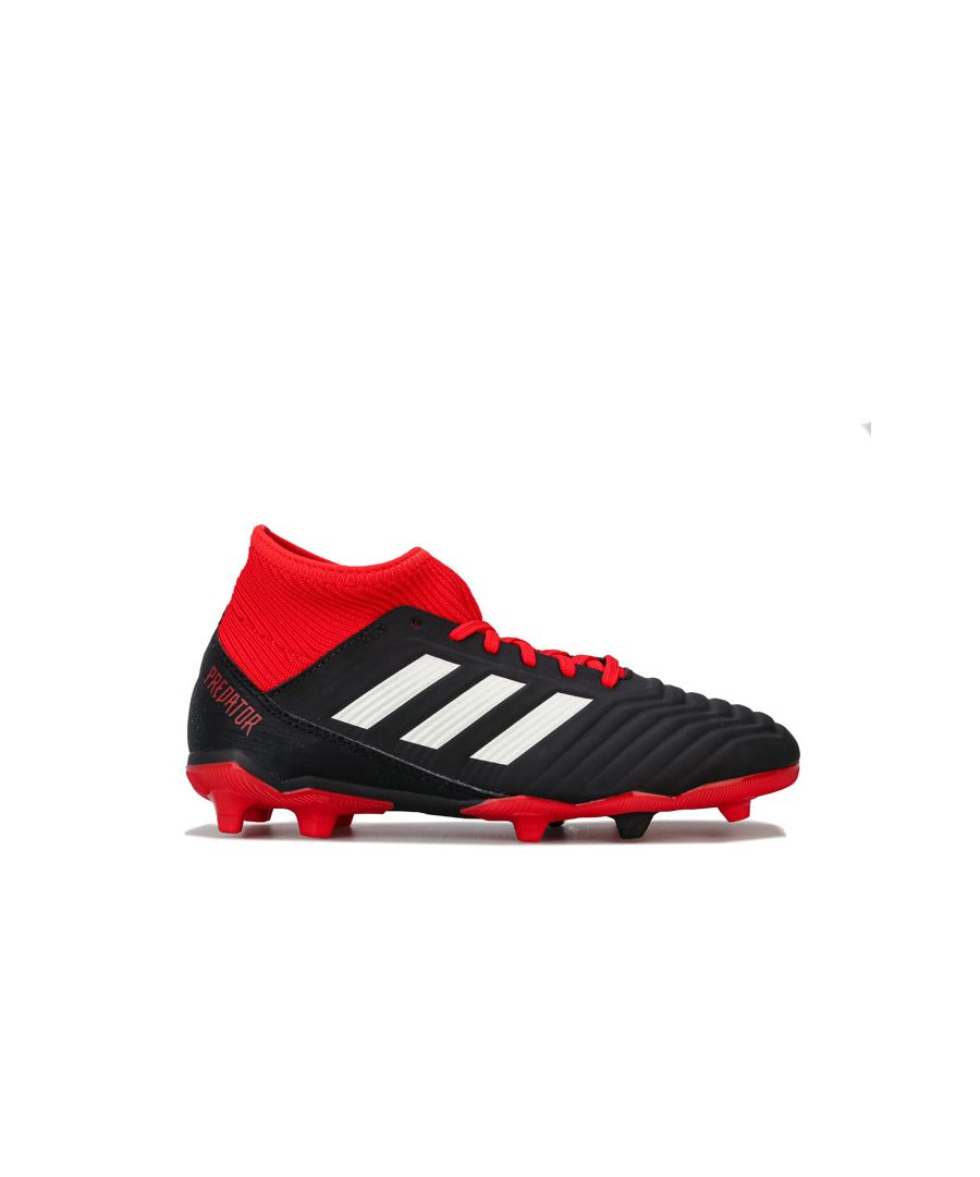 Image for Boy's adidas Junior Predator 18.3 FG Football Boots in Black Red
