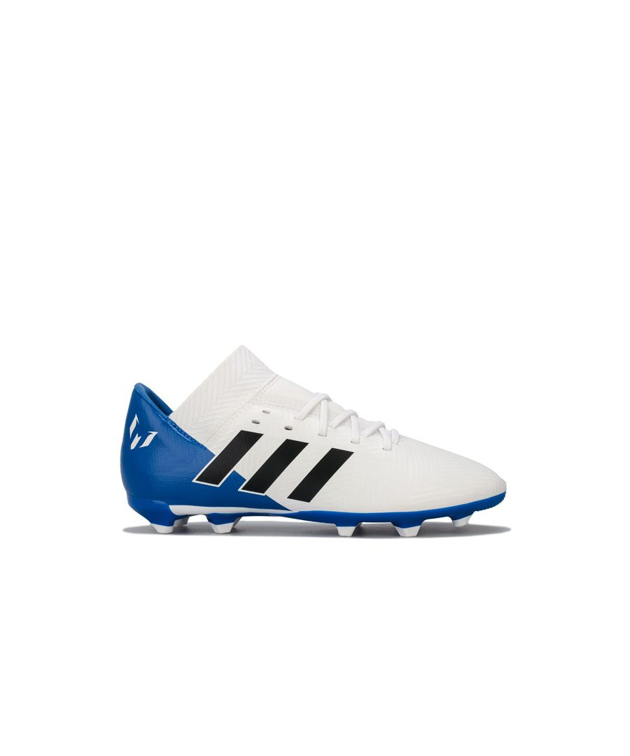 Image for Boy's adidas Junior Nemeziz Messi 18.3 FG Football Boots in White blue
