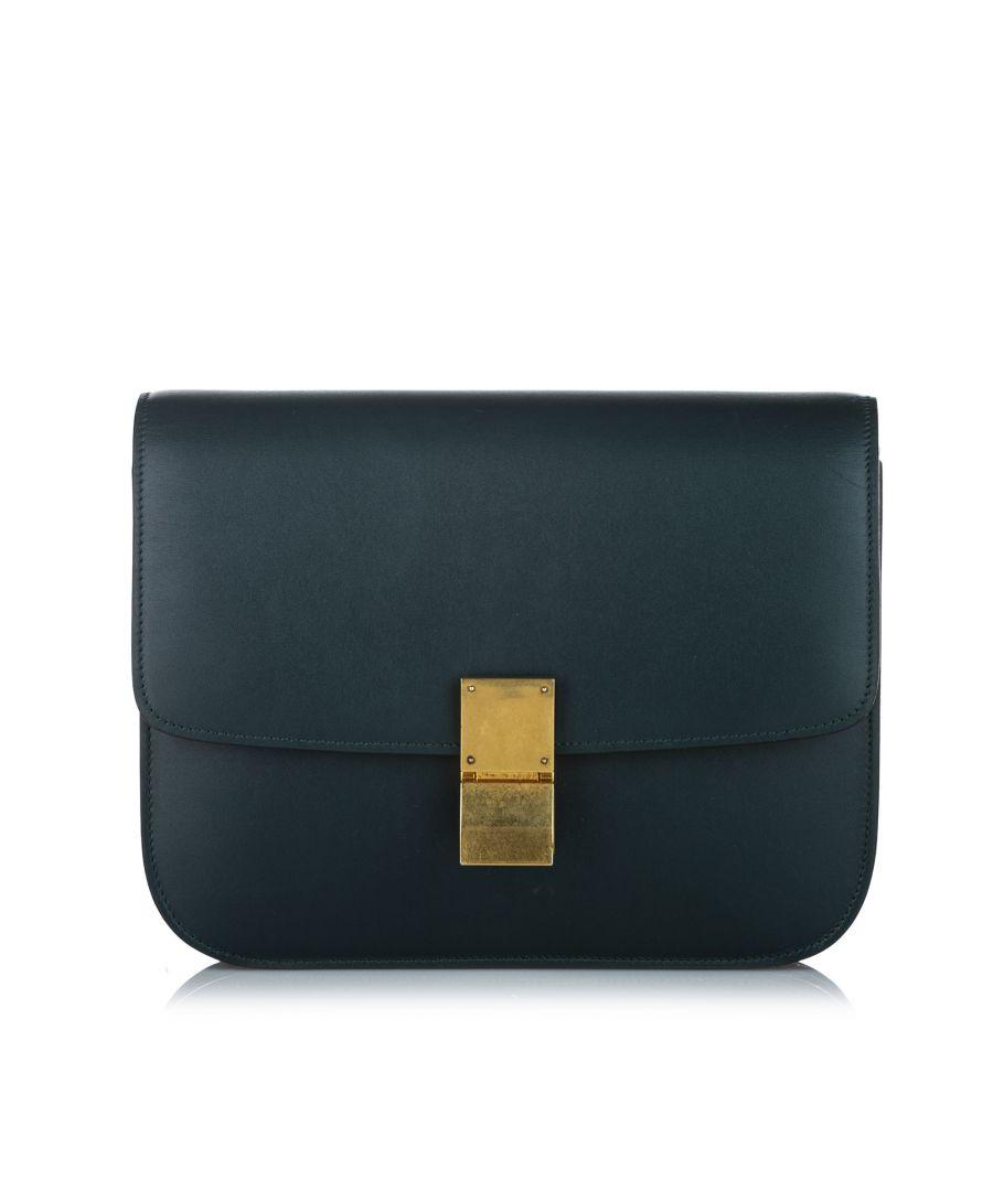 Image for Vintage Celine Medium Classic Box Leather Crossbody Bag Green
