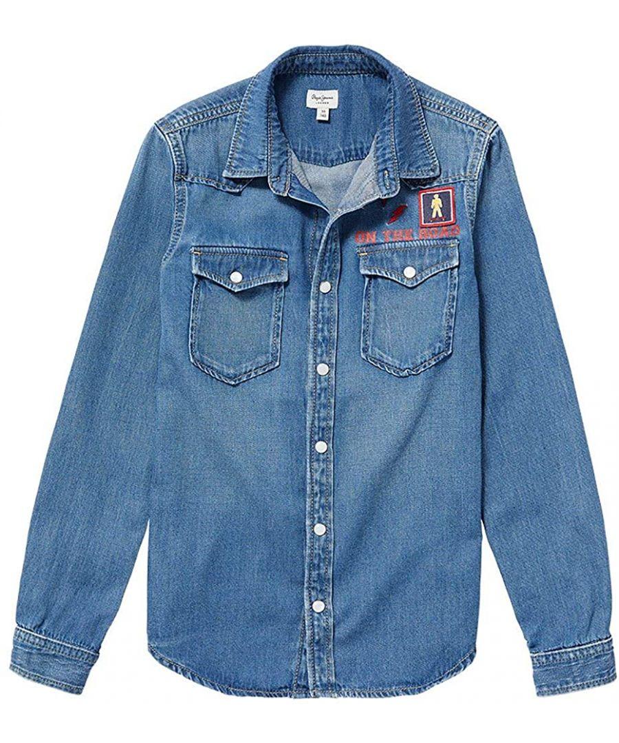 Image for Pepe Jeans Boys Karson Badge Shirt in Blue