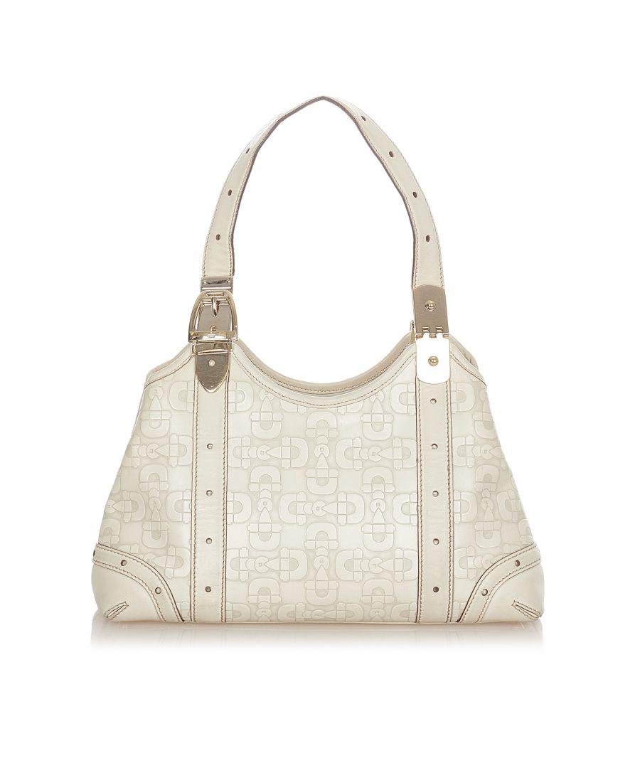 Image for Vintage Gucci Horsebit Leather Shoulder Bag White