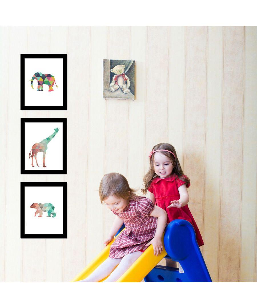 Image for Giraffe Art Canvas Printing + Polar Bear Art Canvas Printing + Elephant Art Canvas Printing Framed Photo, Framed Art
