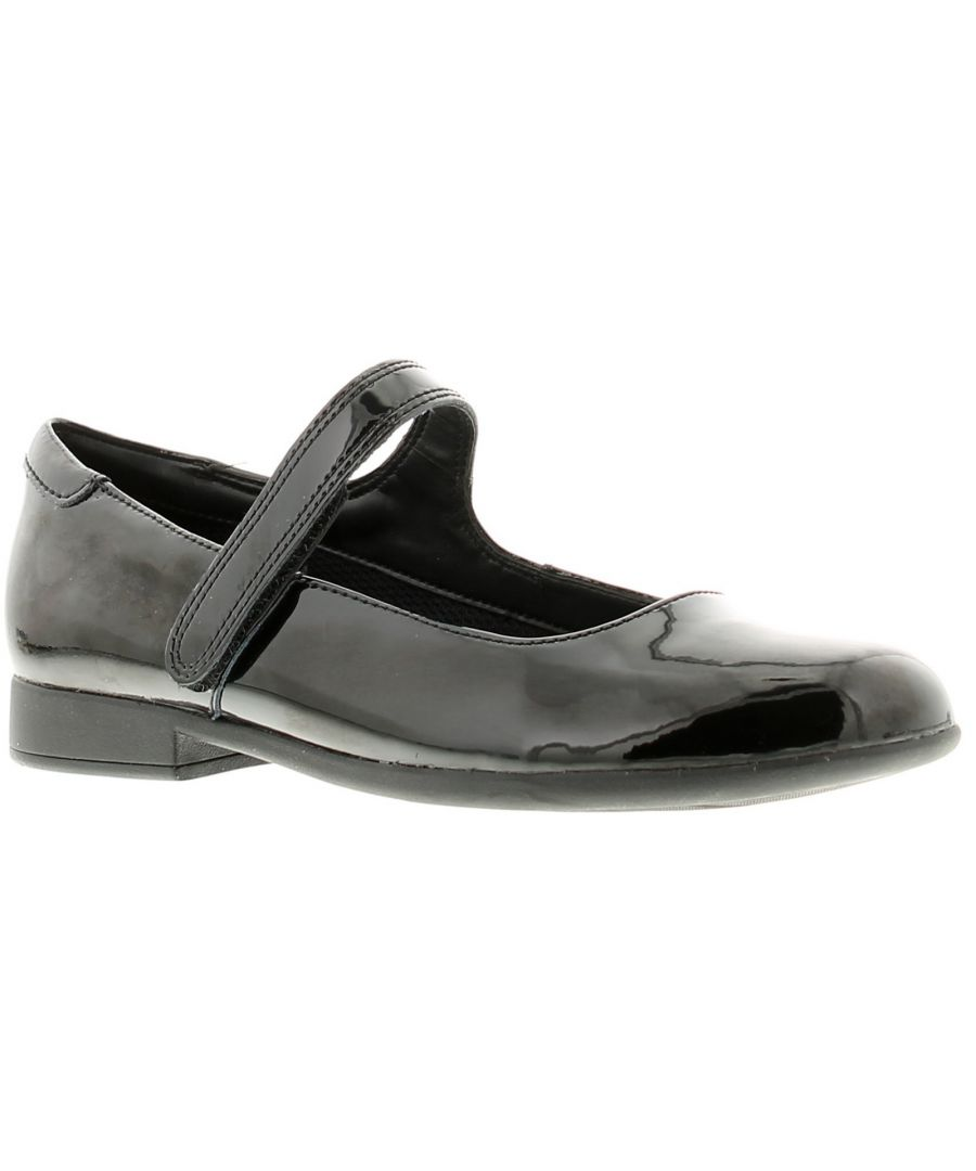 Image for Childrens Leather Upper School Shoe With A Clean, Minimal Aesthetic A Single Return Riptape Fastenin