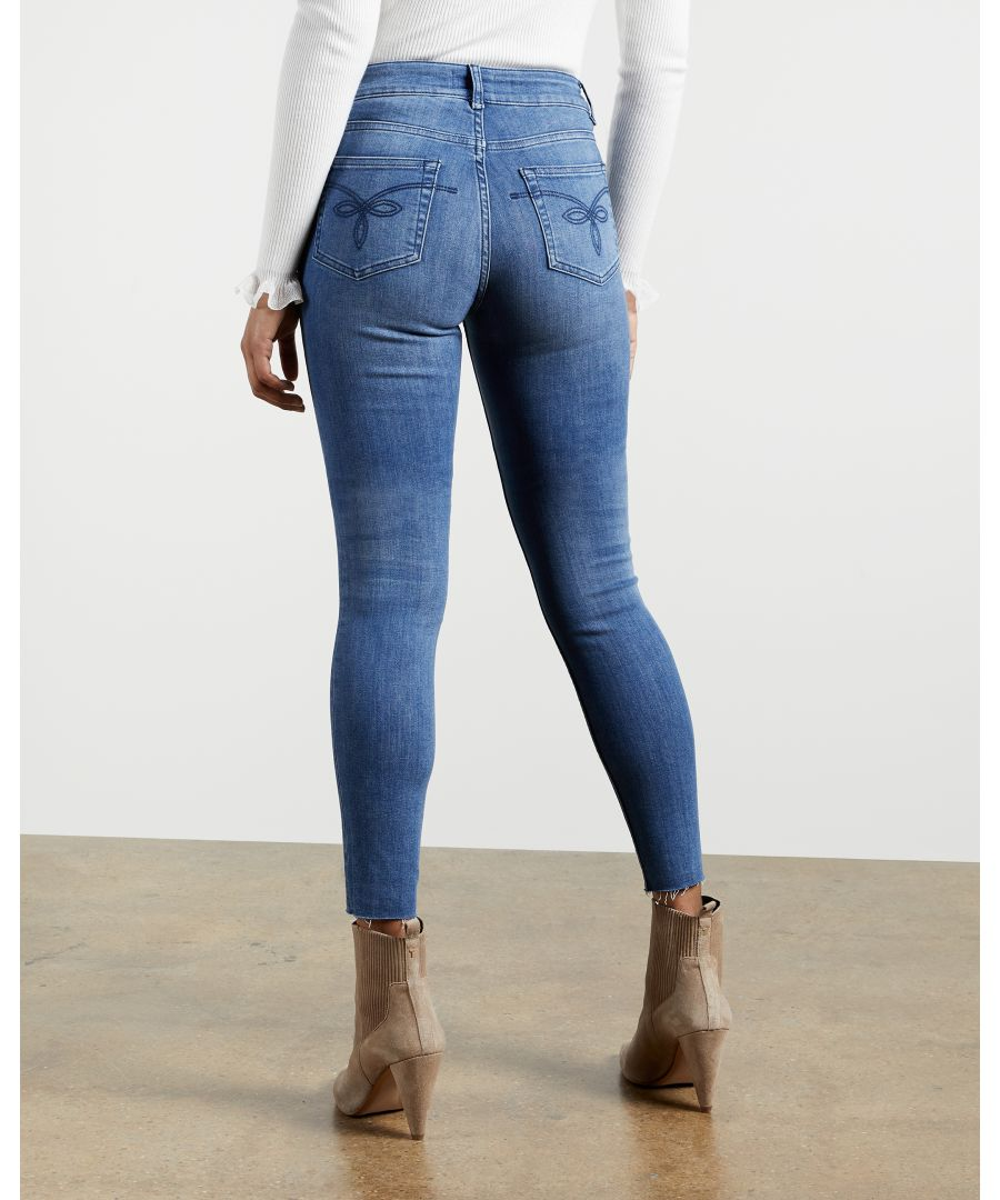 Image for Ted Baker Aaciee Mid Wash Raw Hem Skinny Jeans, Mid Wash