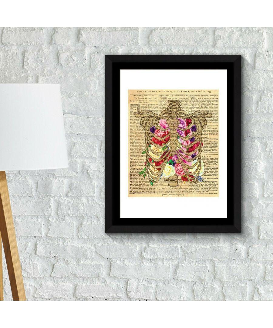 Image for Walplus Framed Art 2in1 Flowery Chest Poster wall decal, wall decal flowers, Framed Photo, Framed Art