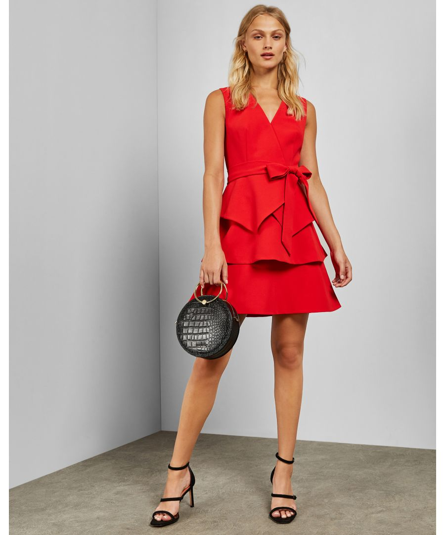 Image for Ted Baker Reinah Tiered Sleeveless Dress, Red