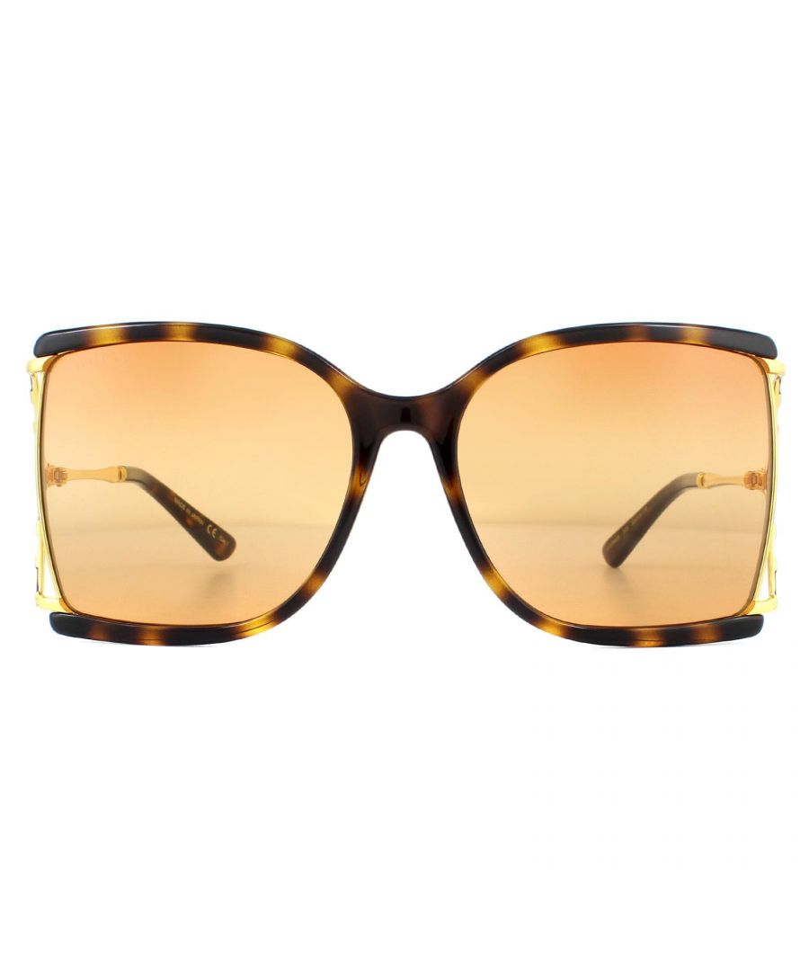 Image for Gucci Sunglasses GG0592S 003 Havana and Gold Orange Double Gradient on Brown