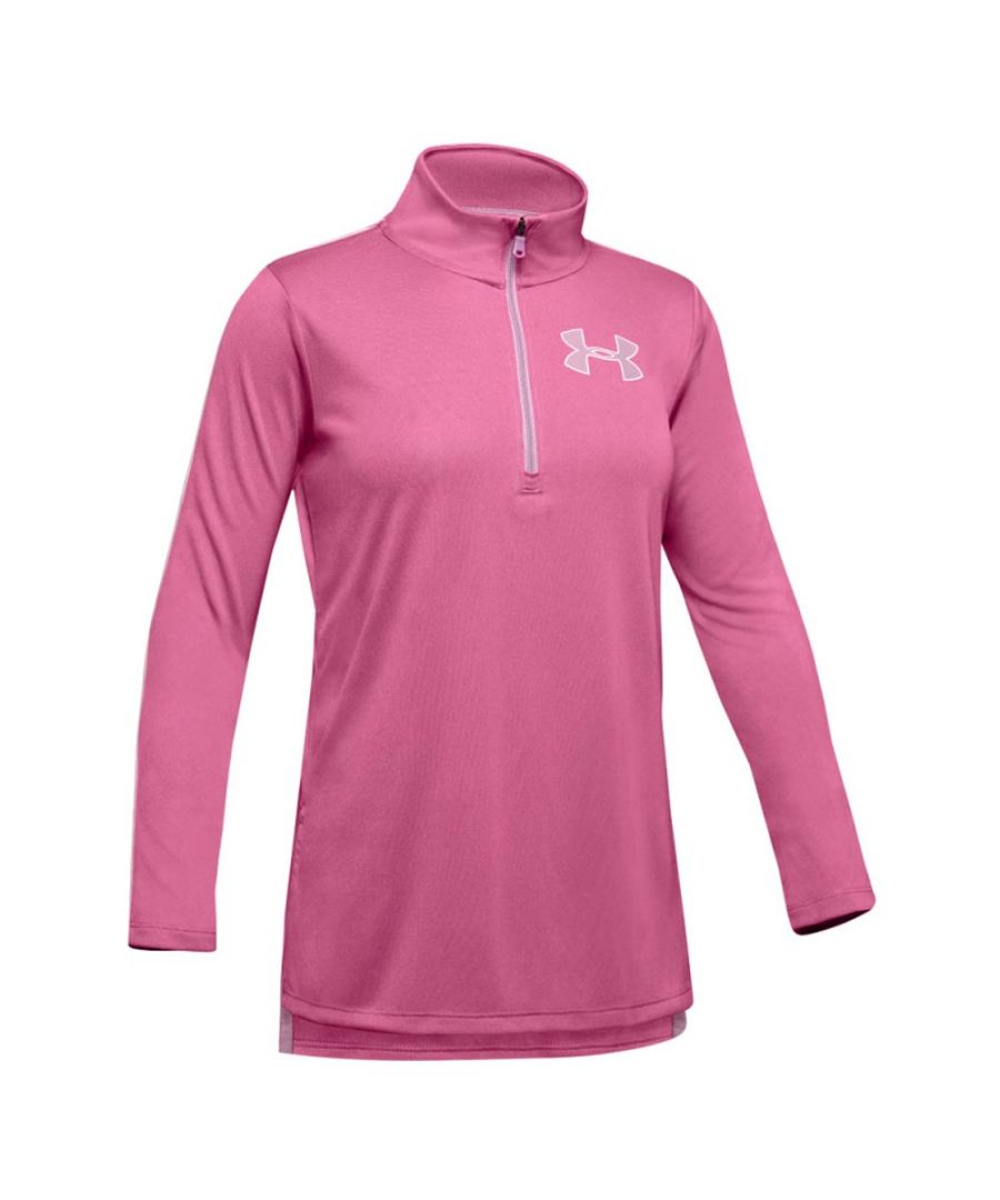 Image for Under Armour Tech Girls 1/2 Zip Shirt Pink - YL