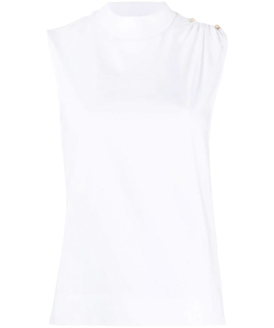 Image for GANNI WOMEN'S T2516001 WHITE COTTON TOP