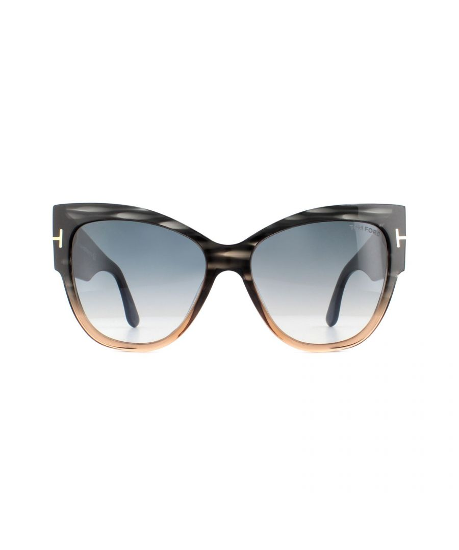 Image for Tom Ford Sunglasses Anoushka 0371 20B Grey and Brown Crystal Grey Blue Gradient