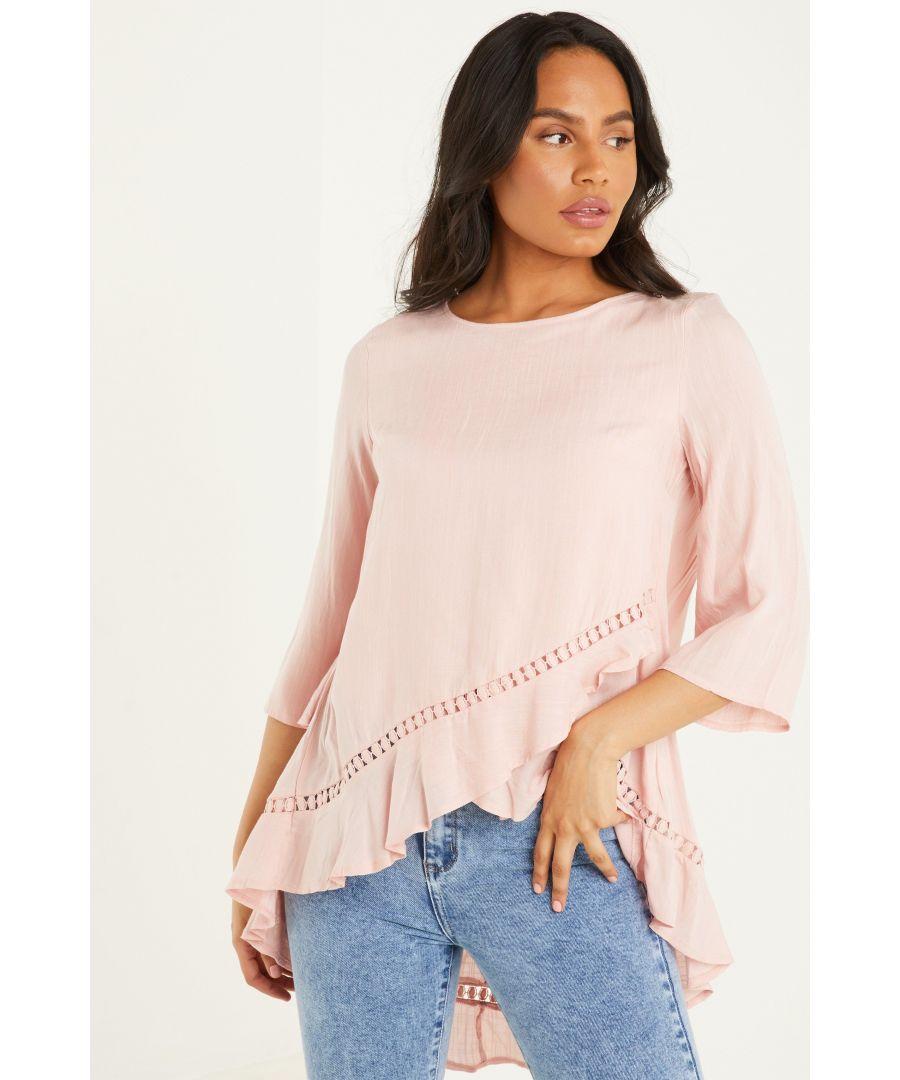 Image for Pink Dip Hem Top