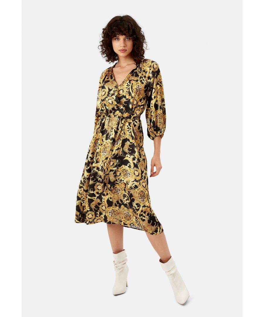 Image for Belt Up Printed Midi Dress in Black and Gold