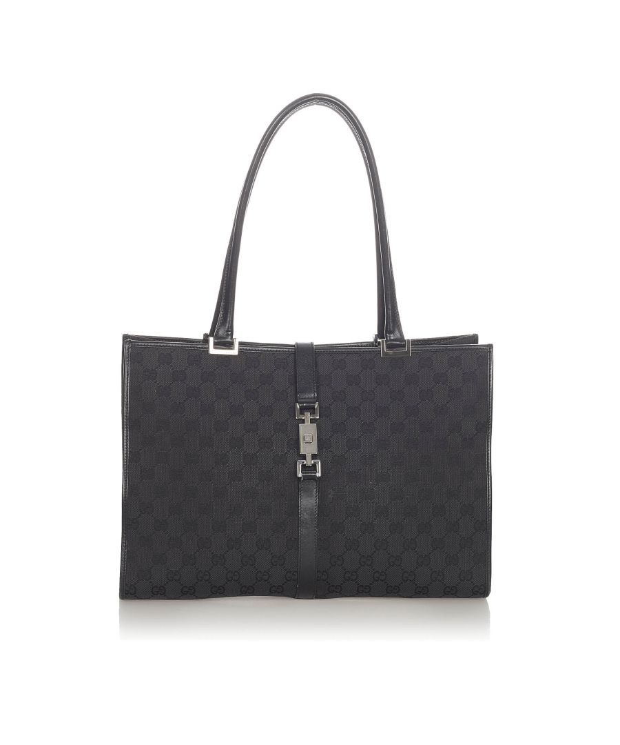 Image for Vintage Gucci GG Canvas New Jackie Tote Bag Black