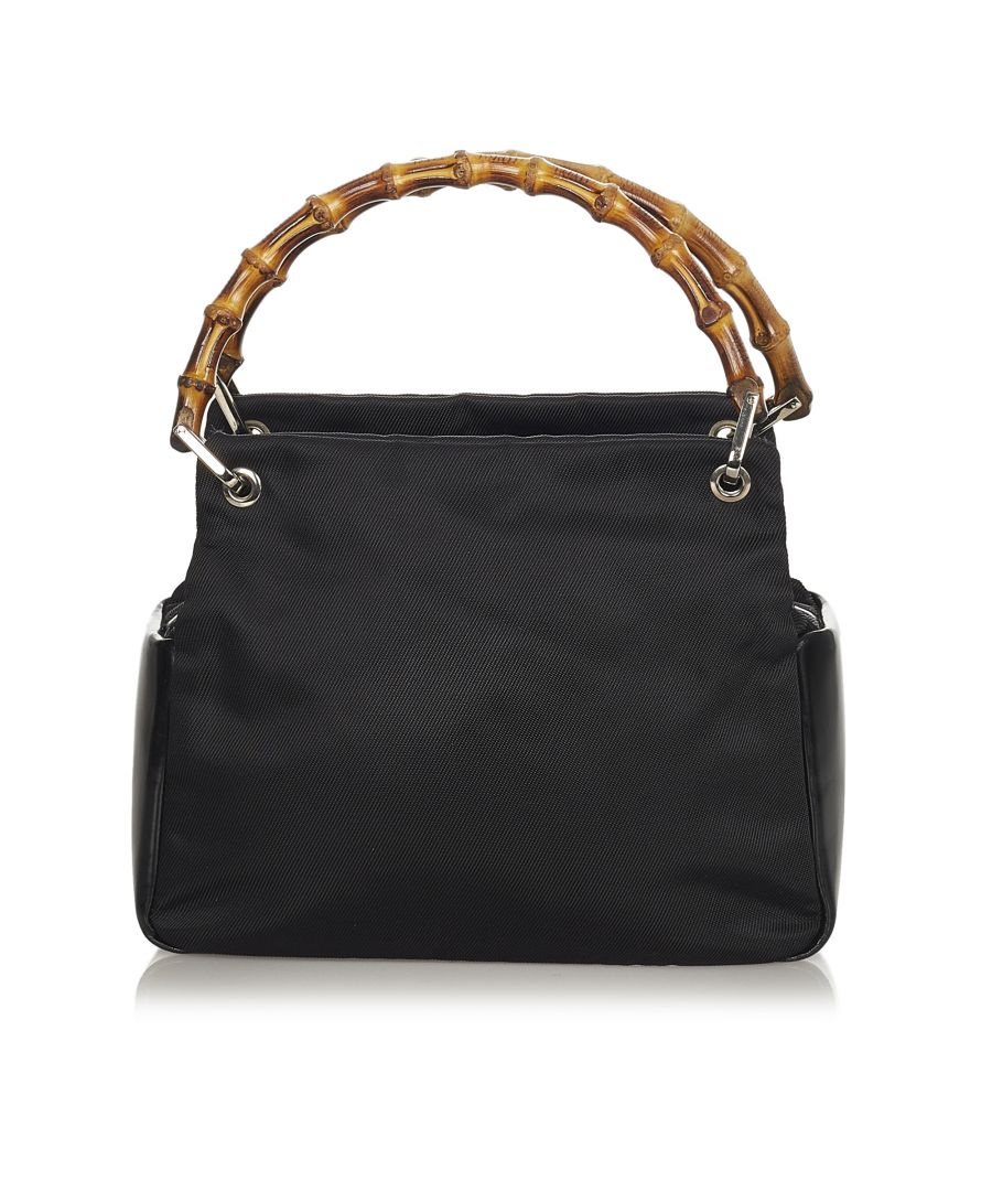 Image for Vintage Gucci Bamboo Nylon Handbag Black